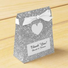 Silver glitter luxury style wedding favor box