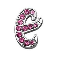 """Chrome Plated Pink Bling Script Charm Letter """"E"""" 3/8"""" 10mm"""