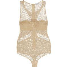 La Perla Macramé lace bodysuit ($558) ❤ liked on Polyvore featuring intimates, shapewear, bodysuits, lingerie, body, la perla and ecru