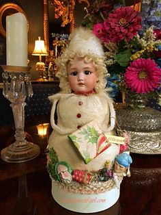 ANTIQUE GERMAN Bisque Head WINTER SNOWGIRL CANDY CONTAINER OOAK ARTIST