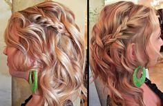 Pretty braid with soft curls.