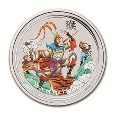 2016 Australia 5 oz. .999 Silver Lunar Series Monkey King Colorized BU  #PerthMint