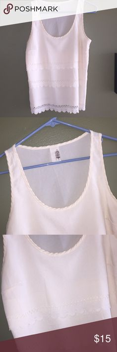 Anthropologie Sparrow Tank Pristine cream Tank with laser cut tiered design on a loose fitting bodice. Size S. Anthropologie Tops Tank Tops