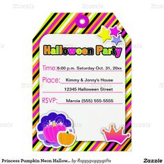 Princess Pumpkin Neon Halloween Party - 5x7 Paper Invitation Card