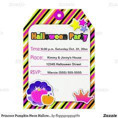 Princess Pumpkin Neon Halloween Party - 5x7 Paper Invitation Card