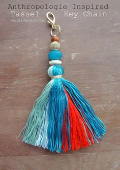 DIY Tutorial, DIY Tassel Key Chain Anthropologie Inspired, Palo Alto Tassel Keychain knockoff, DIy tassel, clip to your purse or keys, bohemian tassel......