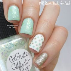 Will Paint Nails for Food: I started with two coats of Attitude Adjust-Mint over a base of Pure Ice Home Run - this mint is close to Essie Fashion Playground but has better coverage. For the dots I started with Pure Ice Superstar! and used Home Run and Essie Beyond Cozy with a small dotting tool. The pinky is two coats of Beyond Cozy.
