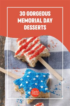 Looking for Memorial Day desserts? Try these tasty treats in bright shades of red, white and blue. Memorial Day Desserts, Raspberry Torte, Icebox Pie, Blueberry Syrup, Berry Pie, Glass Serving Bowls, Star Cookies, Strawberry Desserts, Angel Food Cake