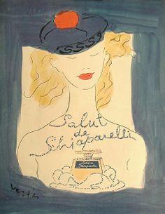 1945 Salut de Schiaparelli #vintage #perfume #ad art by Marcel Vertes