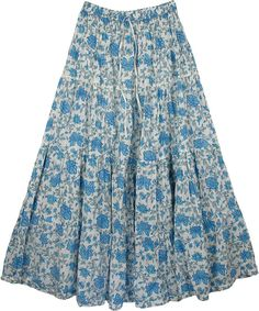 Hydrangea Blue Cotton Long Summer Skirt TLB > Printed Cotton Long Skirt Cotton Print Long Skirt - A big, sky blue hydrangea flower is absolutely breathtaking Modest Skirts, Boho Skirts, Jean Skirts, Denim Skirts, Midi Skirts, Casual Skirts, Women's Casual, Rock Design, Flowy Skirt