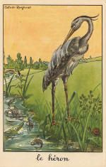 Fables of la Fontaine: Calvet-Rogniat: Le Heron Land Art, Fairy Land, Fairy Tales, Fables D'esope, Vintage Images, Vintage Art, Creighton University, Photo Images, Old Postcards