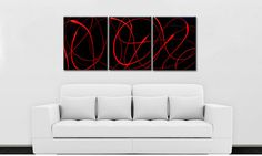 HOLIDAY SALE  Convolution  Red and Black  by MatriXArtbyDV on Etsy