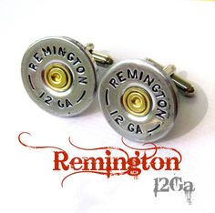 remington 12 ga shotgun shell jewelry cufflinks cuff by lizzybleu (Accessories, Cuff Links, handmade, bullet, accessories, recycle, upcycle, men, wedding, cuff links, spent bullet, remington 12 ga, shotgun shell)