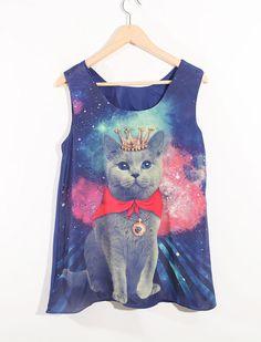 Blue Beading Cat Printed Round Neck Sleeveless Chiffon Shirt. I kind of really want to wear this haha