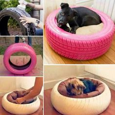 I would need a TRACTOR tire! LOL How to make tyre/tire pet bed tutorials Couch Pet Bed, Diy Dog Bed, Diy Bed, Pet Beds, Tyres Recycle, Old Tires, Animal Projects, Diy Stuffed Animals, Dog Houses