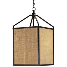 The simplicity of a square lantern is warmed with the use of a natural jute material. Black wrought iron defines the form.