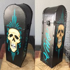 One of a kind wine bottle storage box Painted Signs, Hand Painted, Wine Bottle Storage, Pinstripe Art, Chalk Lettering, Sign Painting, Rat Fink, Great Wedding Gifts, Bottle Box