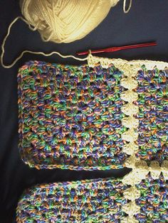 Rainbow Scrap Granny Square Blanket (with continuous join-as-you-go tutorial) - CROCHET