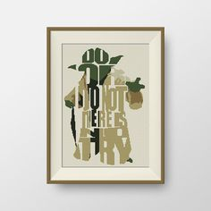 Star Wars Cross stitch pattern, Quote cross stitch, PDF counted cross stitch pattern - Yoda Do Or Do Not There Is No Try, P080