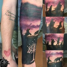 Had the privilege to cover up some older pieces I've done on Christian before he knew he wanted a literature sleeve with this sweet Lord of the Rings half sleeve! Silhouettes of the fellowship backlit with there shadows stretching into the foreground with the White Tree of Gondor in negative space on his inner wrist. (at Aquanaut Tattoo)