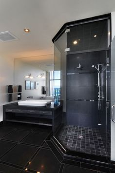black with black tile. very ellegant!