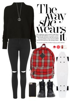 """Pace Out"" by crblackflag ❤ liked on Polyvore featuring Topshop, Mexicana, Victoria Beckham, Case-Mate, Korres, Boots, rippedjeans, skateboard, oversizedsweater and plaidbackpack"