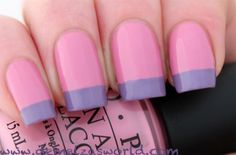 French manicure nail art: two color colour design pink base with lilac light violet purple tips