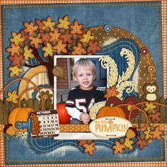 """love the trees! """"Falling for You"""" by Julie Billingsley  """"Too Cute to Spook"""" by Julie Billingsley  Bracket Beauties 2 - In Stitches by Julie Billingsley  Shabby Calendars by Julie Billingsley  Binder Clip (recolored), Staples, Chipboard Circle – Julie Billingsley  Border Stitching – Scrapkitchen Designs  Circle Stitching- Traci Reed"""