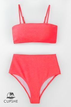 b8db9263a42 Add a flirty pop of neon pink to your swimwear collection with the Neon  Pink High-Waisted Bikini.