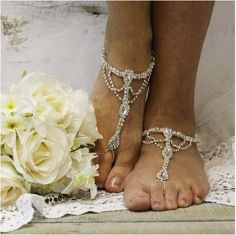 barefoot sandals - silver - foot jewelry - wedding - beach - pearls - woman