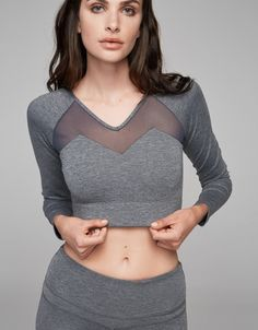 Varley Alpine Dove Heather Crop Top with mesh detailing | Shop the latest sportsluxe activewear on Fashercise now! Free worldwide shipping over £150. Be stylishly fit!