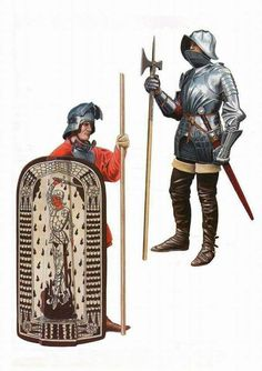 The black army of hungary Pavese shield and poleaxe