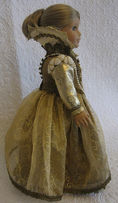 historical doll clothes Queen Elizabeth I Dress and Robe by OntheTownDesigns on Etsy My American Girl Doll, American Doll Clothes, Ag Doll Clothes, Doll Clothes Patterns, Clothing Patterns, Ag Clothing, Doll Patterns, Dress Patterns, Doll Costume