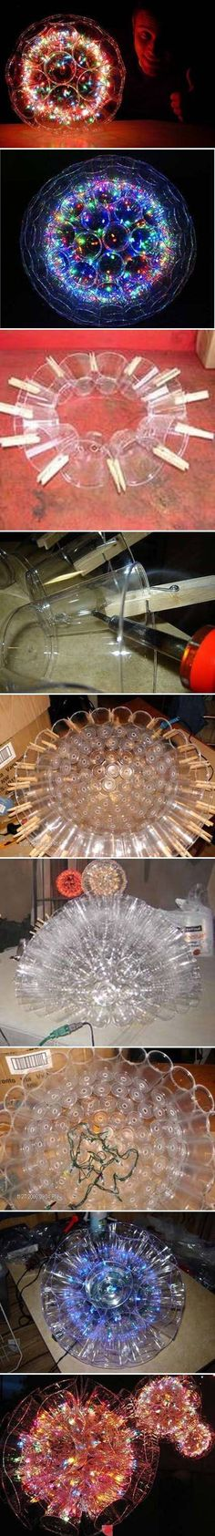 Sparkle Balls! Plastic cups stuck together, with Christmas lights inside. Full tutorial at link