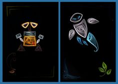 eve and wall-e Quilling Jewelry, Quilling Craft, Quilling Ideas, Wall E Eve, Paper Art, Paper Crafts, Baby Bats, Disney Cards, Disney Artwork