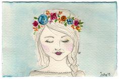 - The Girl - pencil & watercolour #elementedenartsearch