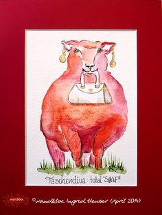 """No. 033 der wandklex-Unikatserie """"Ich war schon immer das Bunte Schaf der Familie"""" - nummerierte Einzelstücke! Ihr eigenes Schaf können Sie als Ihr Designerstück von wandklex® Ingrid Heuser, Ratzeburg, Germany bestellen:  im kleinen Klexshop bei DaWanda auf http://de.dawanda.com/shop/wandklex ©  Kunstatelier wandklex Ingrid Heuser, D-Ratzeburg Besuchen Sie mich auch auf facebook: https://www.facebook.com/wandklex"""