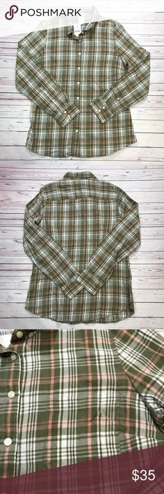"J.Crew Perfect Fit Plaid Button Down Flannel Sz M Classic button-down shirt in flannel in perfect fit  Product Details Cotton. Long sleeves. Machine wash. Import. Item 30519. Color is green and pink   Measurements laying flat  Pit to Pit 19.5"" Sleeve length 25"" Length shoulder to bottom hem 27"" Shoulders 15.5"" J. Crew Tops Button Down Shirts"