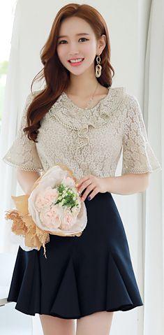 StyleOnme_Godet Mini Skort #navy #skirt #pants #koreanfashion #cute #feminine #kstyle #kfashion #summerlook #seoul