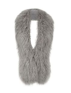Go for a wintry tonal look by wearing Grey Faux Fur Stole with a stone-coloured coat. £19.99 #newlook #fashion