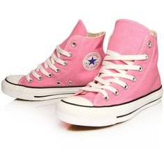 Converse Pink Chuck Taylor All Star Hi Top Trainers found on Polyvore