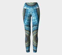 Blue Gold Mandala Yoga Pants Yoga Leggings, Yoga Pants, Geometric Designs, Blue Gold, Stretch Fabric, Mandala, Studio, Tattoos, How To Wear