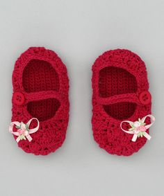 Look what I found on #zulily! Fuchsia Bow Crochet Mary Jane Booties by Loralin Design #zulilyfinds