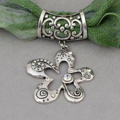 Open Flower With Stone Scarf Jewelry  - $10.90