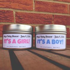 Baby Shower Favors, Baby Shower Candles, 2 oz, 4 oz, 8 oz, 16 oz Tin, Vegan, Gender Reveal, Baby Shower Prizes, It's a Boy!, It's a Girl! by AtoZCandles on Etsy https://www.etsy.com/listing/267400755/baby-shower-favors-baby-shower-candles-2