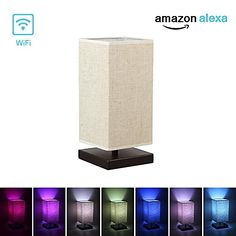 Alexa WiFi Smart Wood Table Lamp, Dimmable Multicolored Color Changing LED Light, with Fabric Shade and Solid Wood, Smartphone Control Work with Alexa Plug In Pendant Light, Pendant Light Fixtures, Kitchen Island Chandelier, Lamp Cord, Table Lamp Wood, Task Lamps, Bedroom Night Stands, Led Desk Lamp, Bedroom Lamps