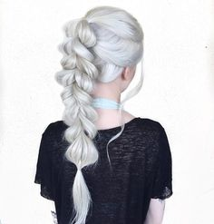 Last one #braids #pullthroughbraid #braidsofinstagram #whitehair #icyhair #hairinspo #hairstyles
