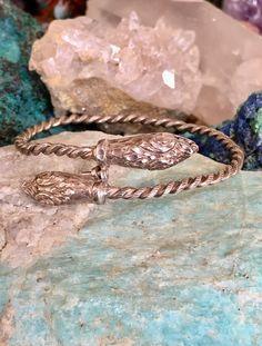 Double Headed Serpent Snake Bracelet in Sterling Silver