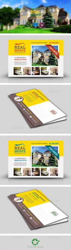 Business Marketing Postcard Template Set Postcard template