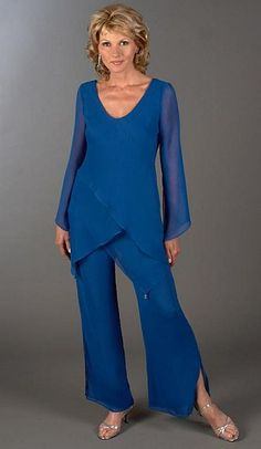 Mother of the Bride 2pc Hanky Hem Tunic Pant Suit 13953